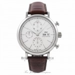 IWC Portofino Chronograph 42MM Stainless Steel Silver Dial Brown Alligator Strap IW391007 ARCZVA - Beverly Hills Watch Company Watch Store