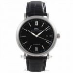 IWC Portofino 40MM Stainless Steel Silver Dial Automatic Black Alligator Strap IW356502 FQ54QX - Beverly Hills Watch Company