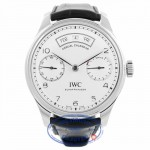 IWC Portugieser Annual Calendar Silver Dial Alligator Leather Automatic Men's Watch IW503501 X7WXD1 - Beverly Hills Watch Company