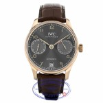 IWC Portugieser 18k Rose Gold Slate Dial 42MM Automatic Alligator Strap IW500702 ZLPL3A - Beverly Hills Watch Company