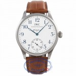 IWC Portugues F.A. Jones Stainless Steel 43mm White Dial Blue Markings IW5442-03 7VKRN6 - Beverly Hills Watch Company Watch Store