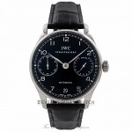 IWC Portuguese 42MM Automatic Stainless Steel Black Dial 7 Day Power Reserve IW500109 1KQWZF - Beverly Hills Watch Company Watch Store