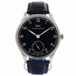 IWC Portuguese 44mm Stainless Steel Manual Wind Black Dial IW545407 U69K6R - Beverly Hills Watch Company Watch Store