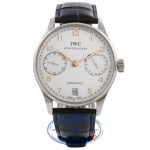 IWC Portuguese 7 Day Stainless Steel Silver Dial Rose Numerals IW500114 L6ZERP