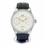 IWC Portuguese 7 Day Stainless Steel Silver Dial Rose Numerals IW500114 NZVW1M - Beverly Hills Watch Company