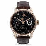 IWC Portuguese Perpetual Calendar 44MM Rose Gold Black Dial IW503202 G1B5PS - Beverly Hills Watch Store: