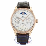IWC Portuguese Perpetual Calendar Single Moonphase 44MM 18k Rose Gold Silver Dial Brown Alligator Strap IW503302 MMX7UL - Beverly Hills Watch Company