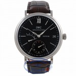 IWC Portofino Stainless Steel Alligator Strap Black Dial IW510102 KL558C - Beverly Hills Watch Company Watch Store