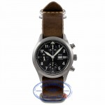 IWC Spitfire 39MM Stainless Steel Black Dial Chronograph Leather Strap IW370613 9NYR0X - Beverly Hills Watch Company Watch Store