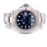 Rolex YachtMaster 40mm Platinum Bezel Blue Dial 116622 KXT059 - Beverly Hills Watch Company