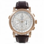 A.Lange & Sohne Lange Double Split Chronograph 43MM Rose Gold Silver Dial Brown Alligator Strap 404.032 E4J3YM - Beverly Hills Watch store