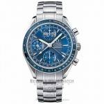 Omega Speedmaster Day Date Stainless Steel Bracelet Blue Dial Chronograph Automatic Watch 323.80.00 Beverly Hills Watch Company Watch Store