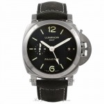 Panerai Luminor GMT 1950 3 Days Black Hobnail Dial Stainless Steel Leather Strap PAM00535 4KLWTP - Beverly Hills Watch Company Watch Store