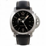 Panerai Luminor 1950 3 Days GMT 44MM Stainless Steel Black Dial Black Leather Strap PAM00531 7TPY6E - Beverly Hills Watch Company Watch Store