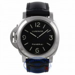 Panerai Luminor Base Destro Left Handed 44MM Stainless Steel Black Dial Black Leather Strap PAM00219 VAVZWF - Beverly Hills Watch Company Watch Store