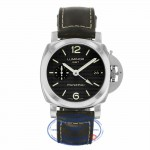 Panerai Luminor GMT 1950 3 Days Black Hobnail Dial Stainless Steel Leather Strap PAM00535 NNRDEL - Beverly Hills Watch Company