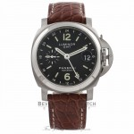 Panerai Luminor GMT 40MM  Stainless Steel Case Black Dial Brown Leather Strap PAM00244 JMR4YP - Beverly Hills Watch Store