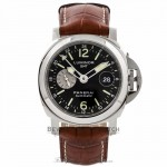 Panerai Luminor GMT 44MM Stainless Steel Black Dial Brown Alligator Strap PAM00088 63RW57 - Beverly Hills Watch Company Watch Store
