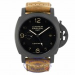 Panerai Luminor 1950 3 Days GMT Black Dial Brown Leather PAM00441 J8CUPU - Beverly Hills Watch