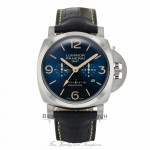 "Panerai Luminor GMT ""Equation"" 47mm Brushed Titanium Blue Dial 8 Days Power Reserve PAM00670 88JD7X - Beverly Hills Watch"
