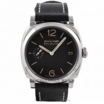 Panerai Radiomir 1940 3 Days 47MM Stainless Steel Black Dial Leather Strap PAM00514 57LD86 - Beverly Hills Watch Store