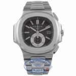 Patek Philippe Nautilus Chronograph Black Dial Stainless Steel 5980/1A-14 067WTH - Beverly Hills Watch Company