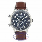 Patek Philippe 42mm Calatrava Pilot Travel Time Blue Dial Automatic 5524G-001 TXCD4L - Beverly Hills Watch Company
