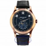 Patek Philippe Annual Calendar 40.2mm Rose Gold Black Dial 5205R-010 XJRV28 - Beverly Hills Watch