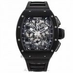 Richard Mille RM011-FM Black Phantom Carbon Fiber Case Black Rubber Strap RM11 AO CA-TZP USA N1 EQY7LN - Beverly Hills Watch Company Watch Store