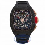 Richard Mille RM011 Rose Gold Carbon Fiber NTPT Limited Edition of 3 Black Rubber Strap RM011 AO RG CA NTPT Lotus F1 XM1472 - Beverly Hills Watch Company Watch Store