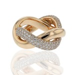 Naira & C Diamond Twisted Rose Gold Ring UYHJ6D - Beverly Hills Watch Company