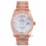 Rolex Day-Date 36mm Everose Meteorite Diamond Dial Smooth Bezel Oyster Bracelet 118205 LY0RR4 - Beverly Hills Watch Company