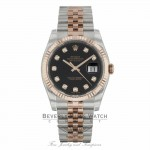 Rolex DateJust 36mm 18k Rose Gold and Stainless Steel Black Diamond Dial 116231 MHH2EZ - Beverly Hills Watch