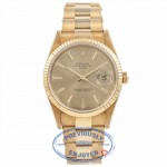 Rolex Date 18k Yellow Gold Fluted Bezel Champagne Stick Dial 15238 FTQ3BM - Beverly Hills Watch Company Watch Store