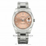 Rolex Oyster Perpetual Date 34mm 18k White Gold Fluted Bezel Pink Dial 115234 9RXXAV - Beverly Hills Watch Company