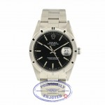 Rolex Date 34mm Stainless Steel Black Stick Dial 15210 Q0X4JL