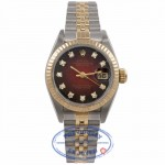 Rolex 26mm Datejust 18k Yellow Gold Stainless Steel Burgundy Diamond Dial 69173 3X8KWH - Beverly Hills Watch Store