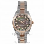 Rolex DateJust 31mm Rose Gold and Steel Black Mother of Pearl Diamond Dial 178241 UDM466 - Beverly Hills Watch Store