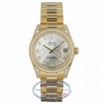 Rolex DateJust 18k Yellow Gold Diamond Bezel & Case White Mother of Pearl Diamond Dial 31MM 178158 CVT1WT - Beverly Hills Watch Company