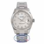Rolex Datejust Stainless Steel 18k Fluted White Gold Bezel Silver Diamond Dial 178274 WHWPAI - Beverly Hills Watch Store Watch Store