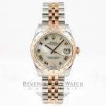 Rolex Datejust 31mm Stainless Steel and Rose Gold Jubliee Bracelet Smooth Sprinkled Diamond Bezel Mother of Pearl Roman Numeral Diamond Dial Watch 178341 Beverly Hills Watch Company Watches