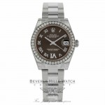 Rolex Datejust 31mm Stainless Steel Diamond Bezel Brown Diamond VI Dial 178384 VZC49Y - Beverly Hills Watch Company