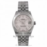 Rolex Datejust 31MM Stainless Steel 18k White Gold Fluted Bezel Pink Mother of Pearl Diamond Dial 178274 U8Z7RY - Beverly Hills Watch Company Watch Store