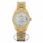 Rolex Lady-Datejust 31mm Mother Of Pearl Dial 18k Yellow Gold President Automatic 178288 69FCUD - Beverly Hills Watch