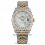 Rolex Datejust 36mm Yellow Gold Stainless Steel Diamond Bezel Mother of Pearl Diamond Dial 116243 YPYUEY - Beverly Hills Watch Company