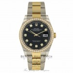 Rolex Datejust 36MM 18k Yellow Gold Stainless Steel Diamond Bezel Black Diamond Dial 116243 PNAA25 - Beverly Hills Watch Company
