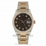 Rolex Datejust 36mm Everose and Stainless Steel Diamond Bezel and Jubilee Chocolate Diamond Dial 126281RBR L4ZWRQ - Beverly Hills Watch Company