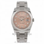 Rolex Datejust 36mm Stainless Steel White Gold Fluted Bezel Pink Diamond Dial 116234 - Beverly Hills Watch Company Watch Store