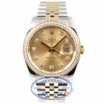 Rolex Datejust 36mm Stainless Steel and Jubille Bracelet Champagne Diamond Dial Full Diamond Bezel Watch 116243