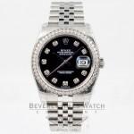 Rolex Datejust 36mm Stainless Steel Case Jubilee Bracelet Diamond Bezel Black Diamond Dial Watch 116244 Beverly Hills Watch Company Watch Store